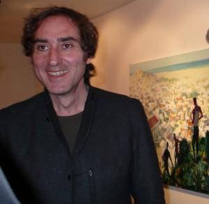Alessandro Bazan all'inaugurazione della sua mostra in galleria (12/09)