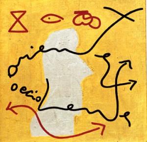 Oriente occidente, foglia d'oro su tela, cm 50 x 50, 2007