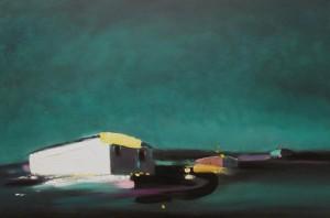 A basso voltaggio, 2009, acrilici e smalti su tela, 100x150 cm