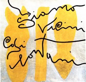 Siamo vicini così lontani, foglia d'oro su tela, cm 50 x 50, 2007
